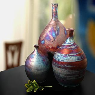 raku-bottle-neck-vase-colorful