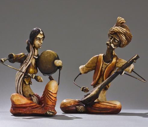 Indian Figurines Statues Of A Nomadic Banjara Musician Couple Home Interior Design Themes
