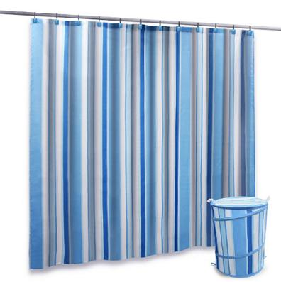 Blue Ruffle Shower Curtain Slate Blue Striped Showe