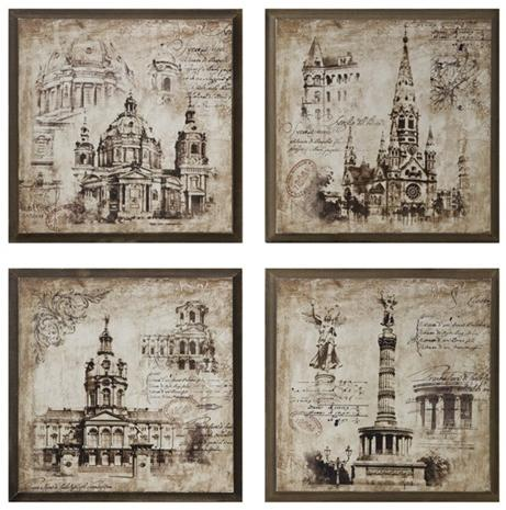 Old world architectural drawing prints home interior for Printing architectural drawings
