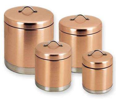 Merveilleux 4 Piece Copper Metal Cannister Set