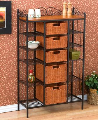 Metal Kitchen Storage Rack with Rattan Basket Drawers - Home ...