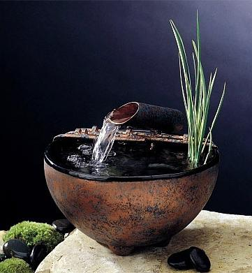 Nature Bowl Indoor Tabletop Fountain with Water Plant - Home ...
