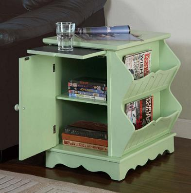 Magazine Cabinet End Table Green