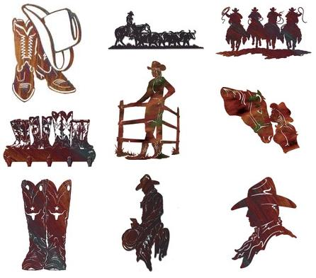 Cowboy themed metal wall ...  sc 1 st  Home Interior Design Themes & Cowboy Themed Metal Wall Sculptures - Home Interior Design Themes