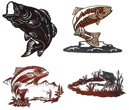 Metal fish wall art sculptures home interior design themes for Metal fish art wall decor