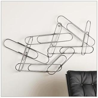 Large Paper Clip Wall Sculpture Made Out of Thick Steel
