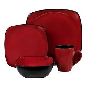 Red Square Shaped Six Piece Dinnerware Set Four People