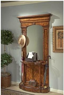 Solid Wood Hall Tree With Mirror Umbrella Stand Shelves