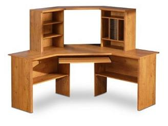 Pine Corner Computer Desk With Hutch And Huge Three Sectioned Body