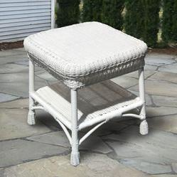 White Wicker End Table Home Interior Design Themes