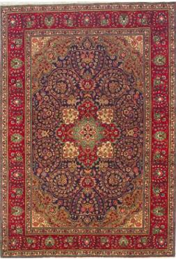 Aged Purple And Red Tabriz Persian Rug 6 10 X 9 9