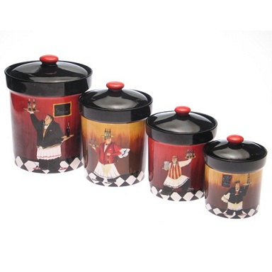 Kitchen on Set Of 4 Kitchen Canisters With A Fun French Bistro Waiter Theme