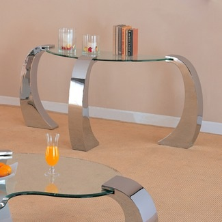 Contemporary Glass Top Sofa Table With 3 Beautifully Curving Chrome