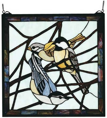 Three Birds On A Tree Branch Square Stained Glass Window