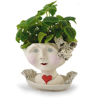 The Debutante Planter Hand Sculpted Decorative Female