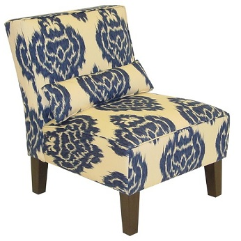 Sturdy Chairs on Blue Ikat Armless Accent Chair And Cushion   Home Interior Design